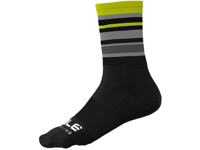 Alé Cycling Stripes Q-Skin Socks 16cm Men, czarny/żółty